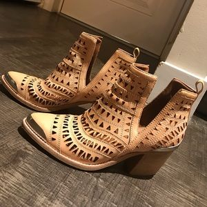 Jeffrey Campbell Cromwell Perforated Bootie Tan